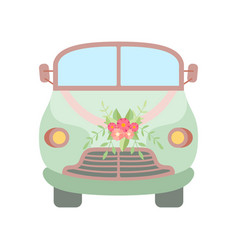 Cute vintage car decorated with flowers and vector