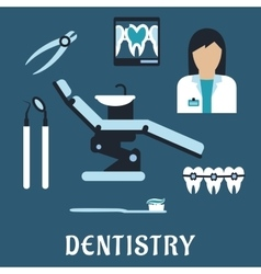 Dentist profession flat icons and symbols vector image