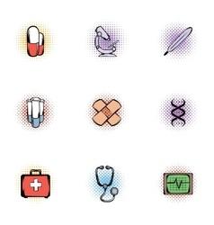 Diagnosis icons set pop-art style vector