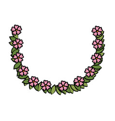 Flower wreath floral leaves style decorative vector