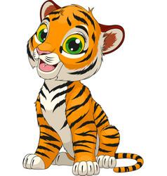Funny cute tiger cub vector