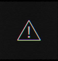 Glitched attention sign on black background with vector