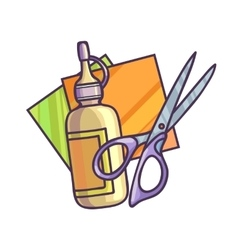 Glue paper and scissors vector image