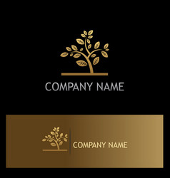 Gold plant tree logo vector