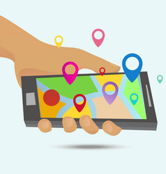 gps maps on the smartphone vector image