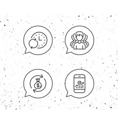 Group of people money bag and analytics icons vector