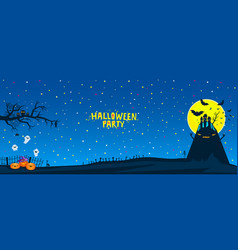 halloween party bats flying over a horrible hill vector image