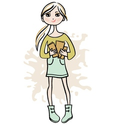 Hand drawn girl with books vector image