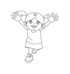 happy cute child girl cartoon character vector image