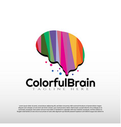 Human brain logo with colorful concept future vector