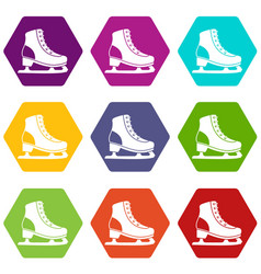 ice skate icon set color hexahedron vector image