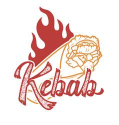 Kebab handwritten lettering logo label badge vector