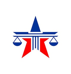 Law balance symbol justice scales star on stylish vector image