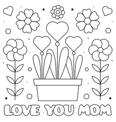 love you mom coloring page vector image