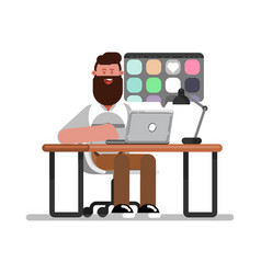 Man designer searching for references on laptop vector