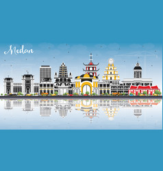 medan indonesia city skyline with color buildings vector image