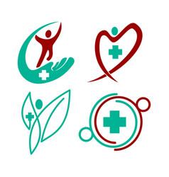 Medical health cross clinic person logo vector