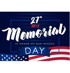 memorial day 27 may navy blue banner vector image