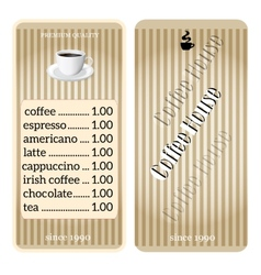 menu for coffee shop restaurant vector image