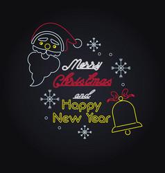merry christmas card neon lights vector image