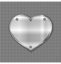 metal heart label on steel background vector image