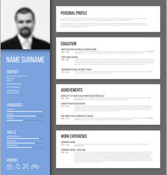 minimalistic cv resume template vector image