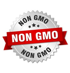 Non gmo 3d silver badge with red ribbon vector