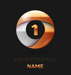 Number one logo symbol in golden-silver circle vector