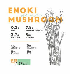 nutrition facts of enoki mushroom hand draw vector image