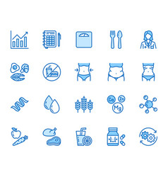 Nutritionist flat line icons set diet food vector
