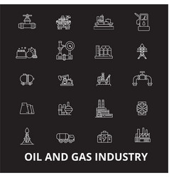 oil and gas industry editable line icons vector image