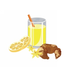 Orange juice and vanilla croissant vector