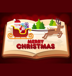 paper cut of santa on sleigh on the book vector image