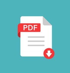 Pdf icon in flat style document text on white vector