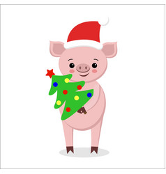 postcard with funny pig in santa hat scarf with vector image