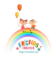 poster with friendship day title and children on vector image