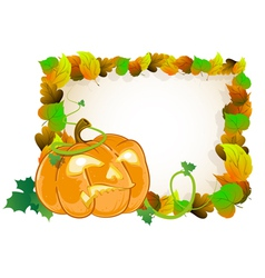 Pumpkin head and leaves vector