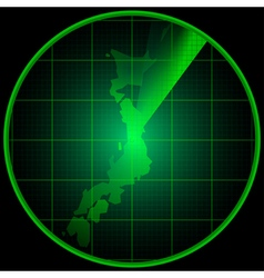 Radar screen with the silhouette of Japan vector