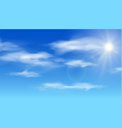 realistic shining sun with lens flare blue sky vector image
