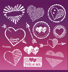 romantic grunge white frames and stamps vector image
