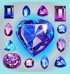 sapphires of different shapes and cut vector image