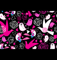 seamless bright pattern with love birds vector image