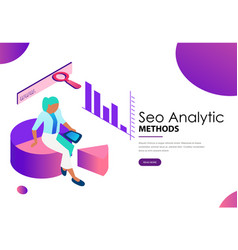 seo analytic methods landing web page template vector image