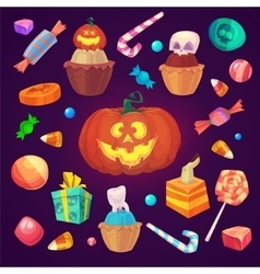 Set colorful halloween sweets and candies icons vector