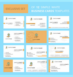 Set of 12 safe world creative busienss card vector