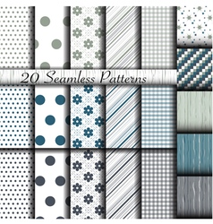 Set of 20 classic seamless patterns vector image