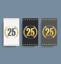 Set of 25th anniversary cards template vector