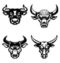 Set of hand drawn bull heads on white background vector