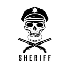 sheriff skull in cap and shotguns design template vector image