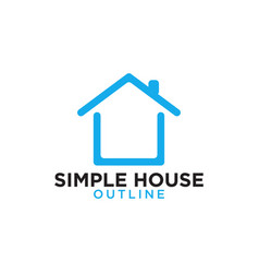 Simple line art blue house logo design template vector